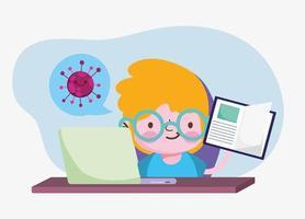 onderwijs online, studentenjongen met boek en laptop, coronavirus-pandemie vector