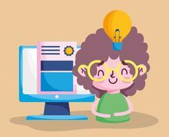 onderwijs online, student jongen computer diploma lamp idee leren vector