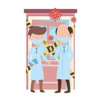 covid 19 coronavirus pandemie, artsen professionele preventie huis besmet vector