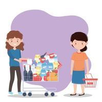 vrouw met volle winkelwagen en een andere bezorgd met lege mand, teveel aan aankoop