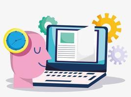 onderwijs online, studentenklok laptop ebook kennis vector