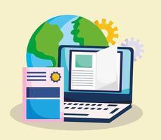 onderwijs online, wereld laptop ebook certificaat studie vector