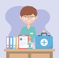 arts met kit eerste hulp medisch rapport en medicijnen, doktoren en ouderen vector