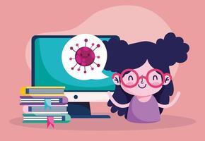 onderwijs online, computerboeken van studentenmeisje, coronavirus-pandemie vector
