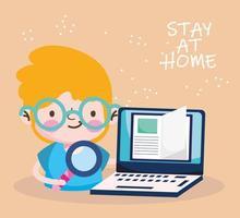 onderwijs online, studentjongen met laptop, blijf thuis vector