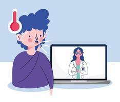 man met droge hoest vrouw arts en laptop vector ontwerp