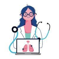 vrouw arts laptop en covid 19 virus vector ontwerp
