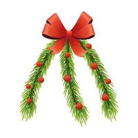 happy merry christmas pine bladeren en rood lint