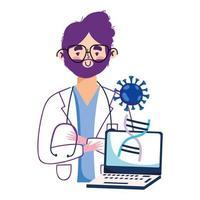 man arts laptop en covid 19 virus vector ontwerp