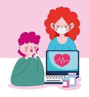 vrouw met masker man met droge hoest laptop en medicijnpotten vector ontwerp
