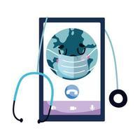 geïsoleerde smartphone en wereld met masker vector ontwerp