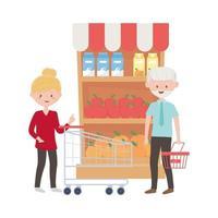 oude man en vrouw die met kar en mand vectorontwerp winkelen