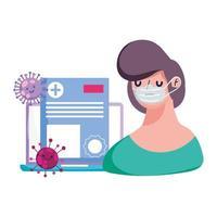 man met masker laptop en covid 19 virus vector ontwerp
