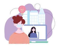 online training, man met masker en meisje in videoschermcomputer, cursussen kennisontwikkeling via internet vector