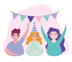 verjaardag of ontmoeting met vrienden, jonge man en vrouw met hoed wijn beker en wimpels decoratie viering vector