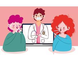 vrouw man met droge hoest arts en laptop vector ontwerp