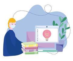 online training, jongen met masker computerboeken creativiteit huiswerk, cursussen kennisontwikkeling via internet vector