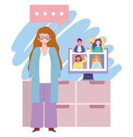 online feest, verjaardag of ontmoeting met vrienden, vrouw in huis met computergroepsgesprek vector