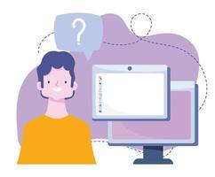 online training, student computer designer website, cursussen kennisontwikkeling via internet vector