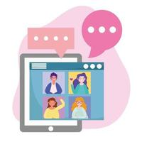 online feest, verjaardag of ontmoeting met vrienden, smartphone mensen groepsfeest evenement met wijnbeker vector