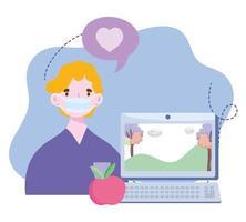 online training, jongen met masker computer video klas, cursussen kennisontwikkeling via internet vector