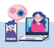 vrouwenman met laptop smartphone en bellen vectorontwerp