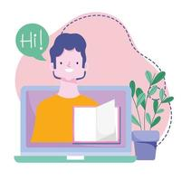 online training, docent scherm laptop boek klas, cursussen kennisontwikkeling via internet vector