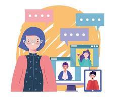 online feest, verjaardag of ontmoeting met vrienden, vrouw pratende groep mensen door computerwebsites vector