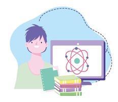online training, leerling klas wetenschap computer en boeken, cursussen kennisontwikkeling via internet vector