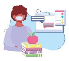 online training, jongen met medisch masker computerwebsite chatten, cursussen kennisontwikkeling via internet vector