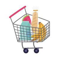 producten in winkelwagen kopen, eten bezorgen in de supermarkt