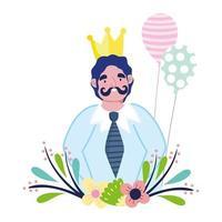 gelukkige vadersdag, papa karakter met gouden kroon bloemen en ballonnen vector