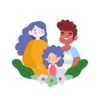 moeder vader en dochter relatie bloemen, familiedag