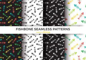 Kleurrijke Fishbone naadloze patroon Vector Set