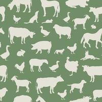 vee naadloze patroon. boerderijdieren achtergrond. boerderij dieren silhouet vector set.