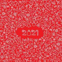 Kerst vakantie pictogramachtergrond. gelukkig nieuw 2021 jaar wenskaart