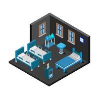 isometrische ziekenhuiskamer in vector op witte achtergrond