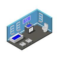 isometrische badkamer in vector op witte achtergrond