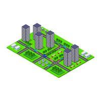 isometrische stad op witte achtergrond vector