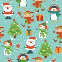 Kerst stripfiguren naadloze patroon met boom, kerstman, elf en sneeuwpop op winter sneeuwvlokken achtergrond vector