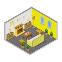 kamer met isometrische open haard op witte achtergrond