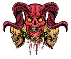grunge schedel met hoorns vector