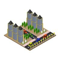 isometrische stad in vector op witte achtergrond