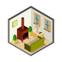 kamer met open haard isometrisch in vector op witte achtergrond