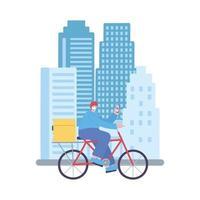 covid-19 coronavirus pandemie, bezorgservice, bezorger met fiets met mobiel in de stad, beschermend medisch masker dragen