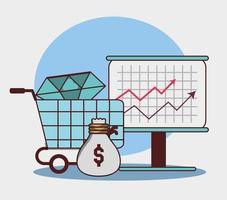 zakelijk financieel pijl economie groei zak geld diamant vector