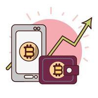 bitcoin smartphone portemonnee pijl omhoog cryptocurrency transactie digitaal geld