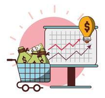 geld zakelijk financieel bord presentatie winkelwagentje met zakken contant geld vector