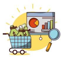 zakelijk financieel winkelwagentje met statistiekenanalyse van de geldstrategie vector