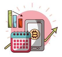 bitcoin smartphone kalender winst pijl cryptocurrency transactie digitaal geld